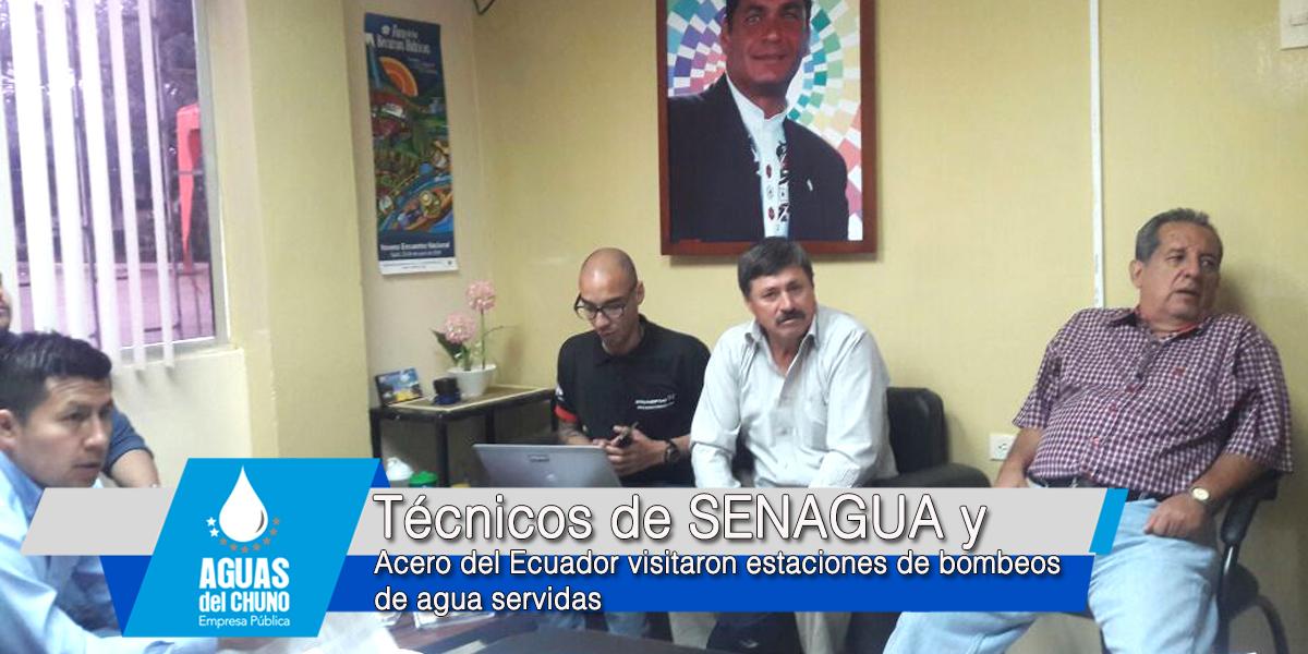 Técnicos de SENAGUA y Acero del Ecuador visitaron estaciones de bombeos de agua servidas