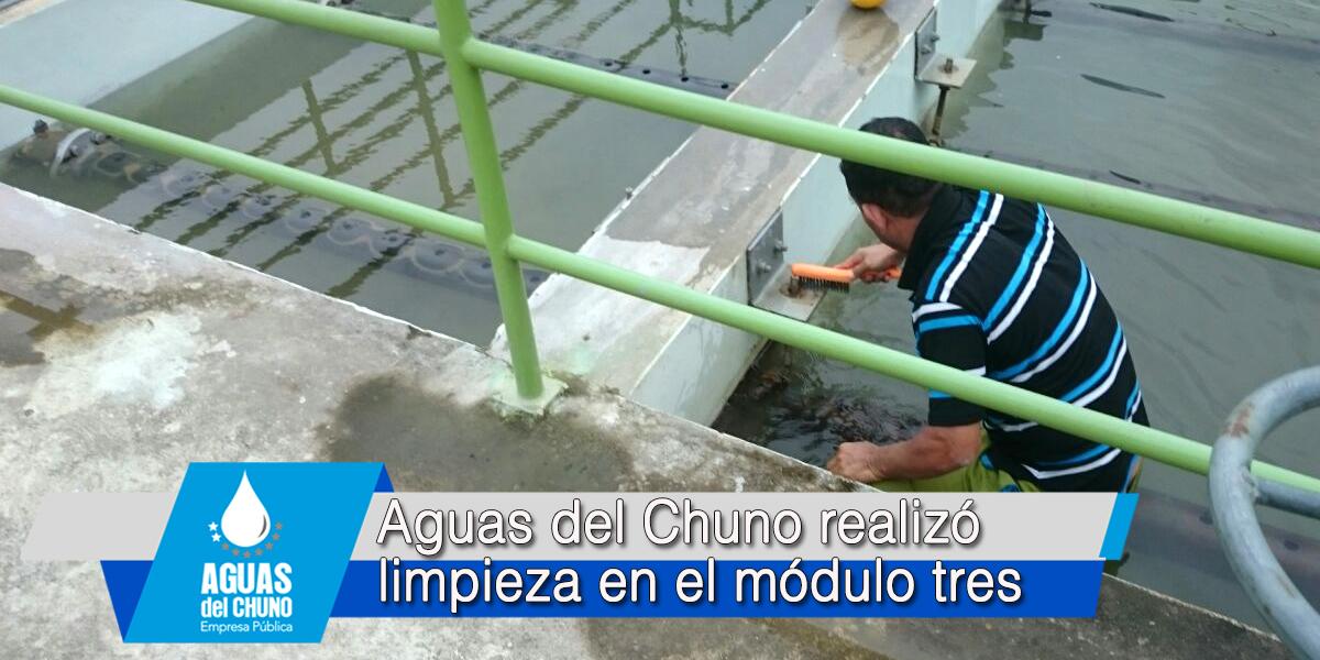 Aguas del Chuno realizó limpieza en el módulo tres