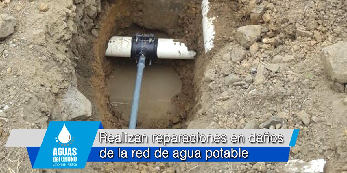 Realizan reparaciones en daños de la red de agua potable