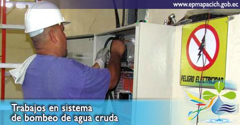 Trabajos en sistema de bombeo de agua cruda
