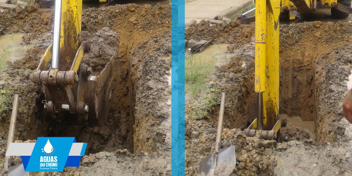 Aguas del Chuno realiza trabajos en arreglos de tuberías