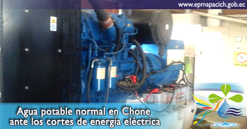 Agua potable normal en Chone ante los cortes de energía eléctrica