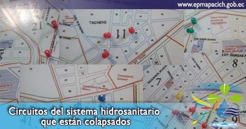 Circuitos del sistema hidrosanitario que están colapsados