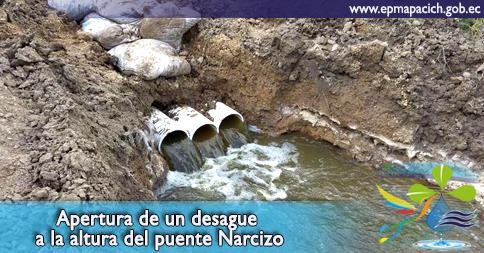 Apertura de un desague a la altura del puente Narcizo