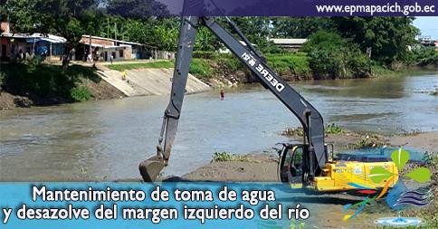 Mantenimiento de toma de agua y desazolve del margen izquierdo del río