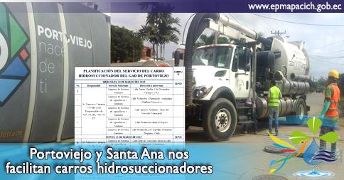 Portoviejo y Santa Ana nos facilitan carros hidrosuccionadores