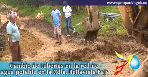 Cambio de tuberías en la red de agua potable en la Cdla. Bellavista Baja