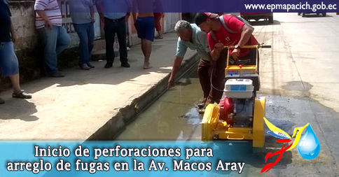 Inicio de perforaciones para arreglo de fugas en la Av. Marcos Aray