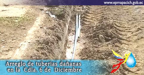 Arreglo de tuberías dañanas en la  Cdla. 6 de  Diciembre