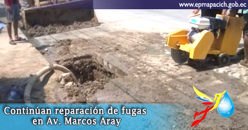 Continúan reparación de fugas en Av. Marcos Aray