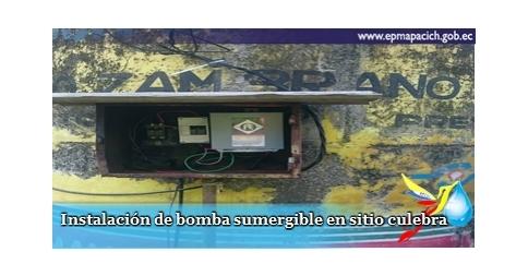 Instalación de bomba sumergible en sitio culebra