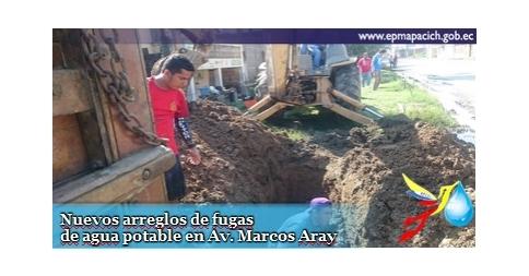 Nuevos arreglos de fugas de agua potable en Av. Marcos Aray