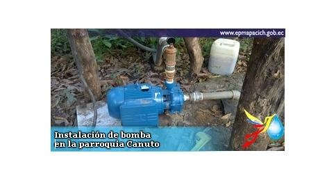 Instalación de bomba en la parroquia Canuto