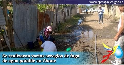 Se realizaron varios arreglos de fuga de agua potable en Chone