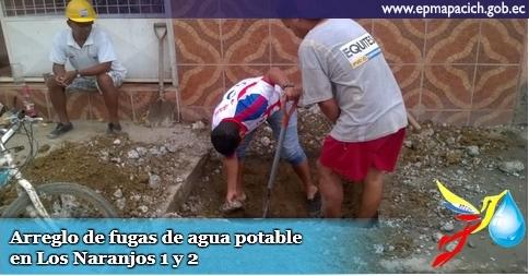Arreglo de fugas de agua potable en Los Naranjos 1 y 2