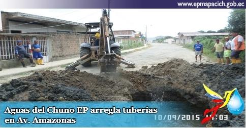 Aguas del Chuno EP arregla tuberías en Av. Amazonas