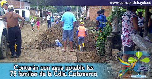 Contarán con agua potable las 75 familias de la Cdla. Colamarco
