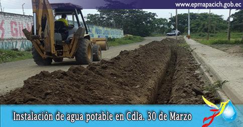 INSTALACIÓN DE AGUA POTABLE EN LA CDLA. 30 DE MARZO